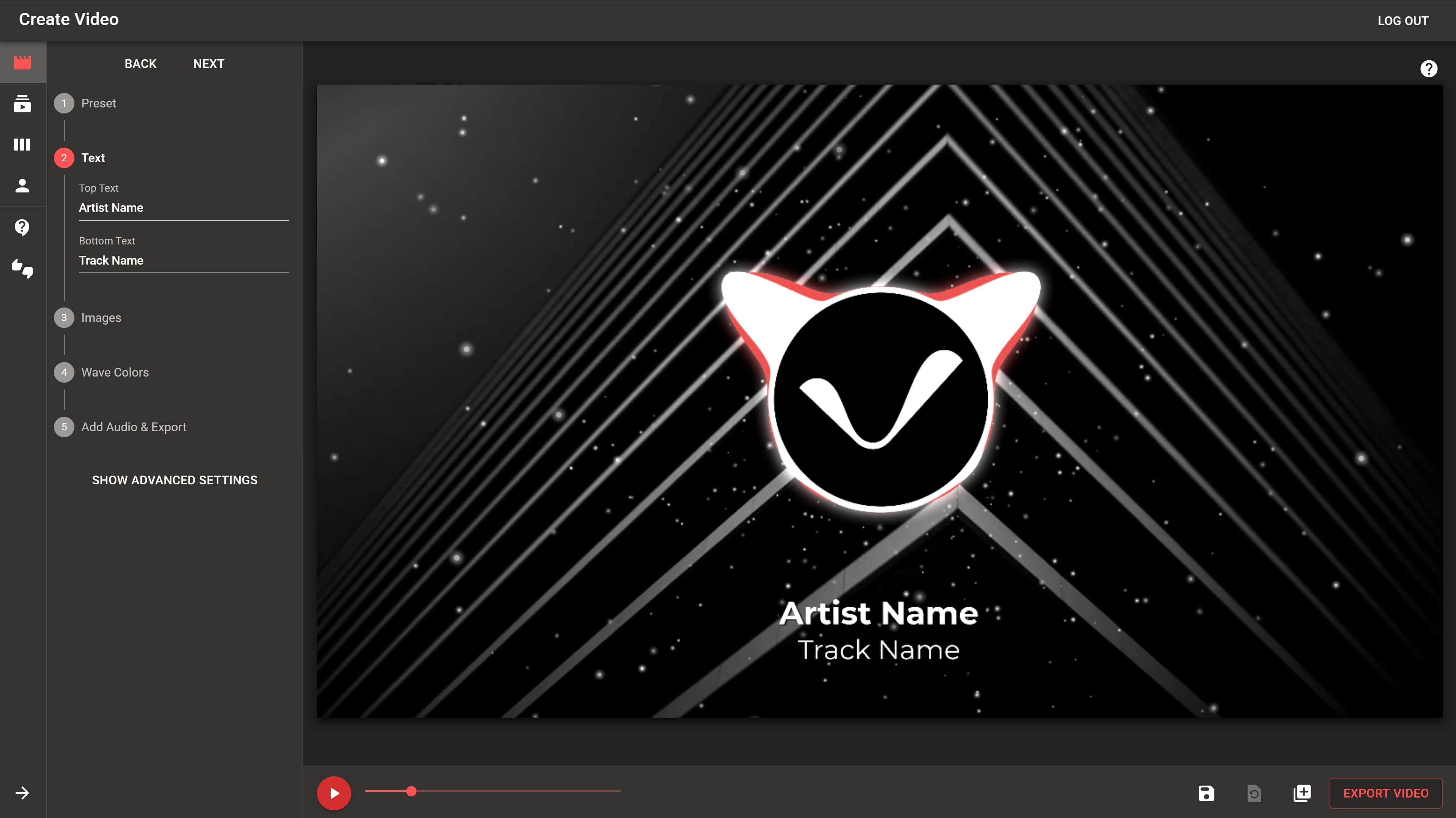 Screenshot of Vizfly video creator suite.